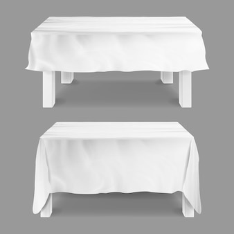 Table with tablecloth illustration set