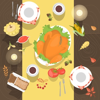 Стол с курицей или индейкой и видом сверху хлеба. еда на деревянном столе. белая посуда и кофейные чашки. иллюстрация в мультяшном стиле.