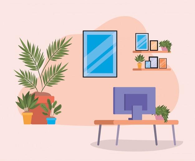 テレビフレームと棚の上の植物のテーブル