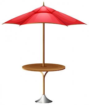 A table with an umbrella