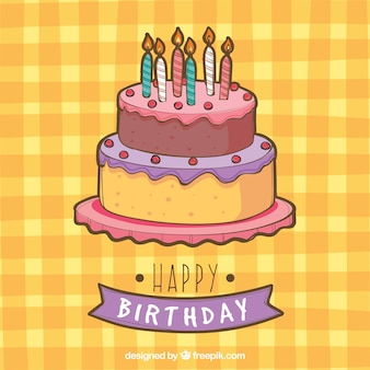Tablecloth background with birthday cake