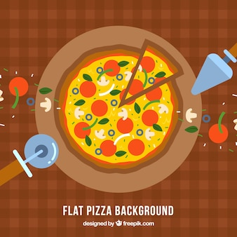 Tablecloth background with delicious pizza in flat design
