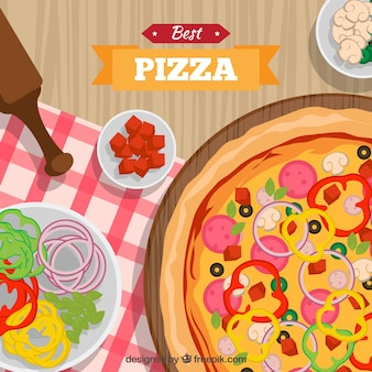 Tablecloth background with pizza