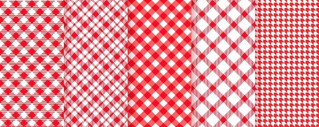 テーブルクロスのピクニックのシームレスなパターン。赤いギンガムチェック柄の布の質感。 Premiumベクター