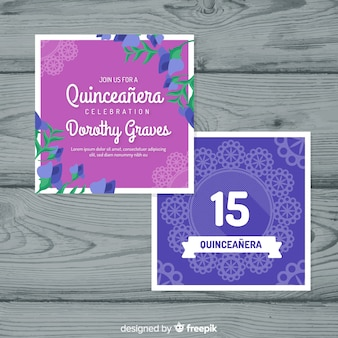 Tablecloth quinceanera party card