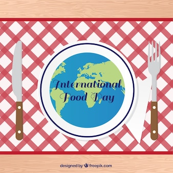 Tablecloth with knife and fork for world food day
