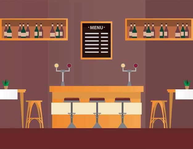 Столы и стулья с баром в сцене мебели ресторана
