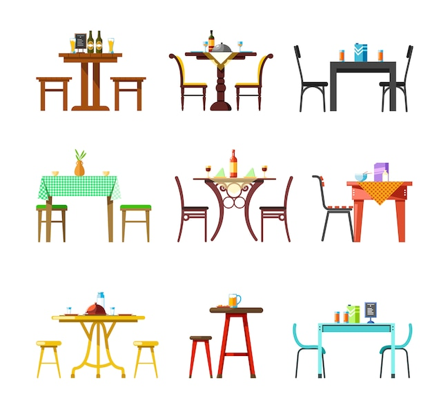 Tables and chairs of restaurant, cafe or bistro served with food and drinks dishware set
