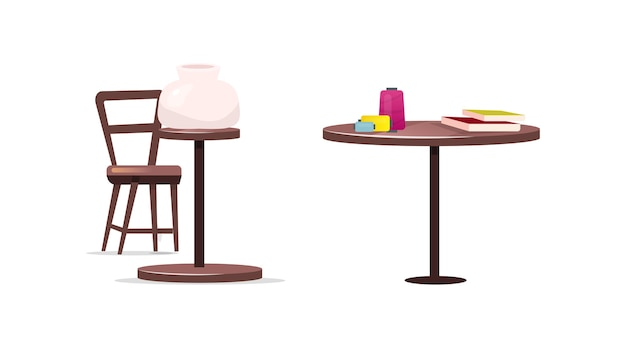 Набор столов для крафта плоских цветных объектов. керамика. изготовление горшков. катушка ниток. стол и стул с ручной изолированной карикатурой для коллекции веб-графического дизайна и анимации