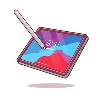 태블릿 및 스타일러스 연필 만화 벡터 아이콘 그림입니다.