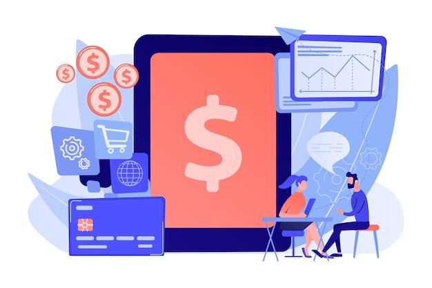 取引に銀行ソフトウェアを使用するタブレット、銀行カード、マネージャー。勘定系itシステム、銀行ソフトウェア、itサービスの概念図