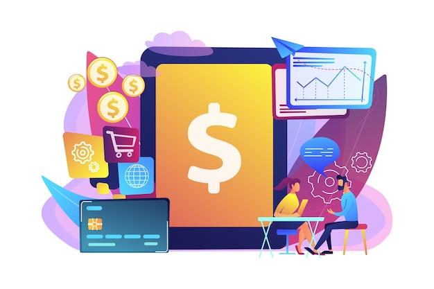 取引に銀行ソフトウェアを使用するタブレット、銀行カード、マネージャー。勘定系itシステム、銀行ソフトウェア、itサービスの概念。