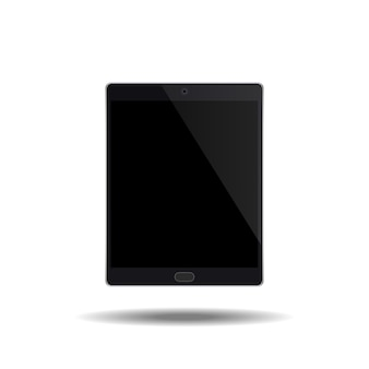 Tablet black color with blank touch screen.