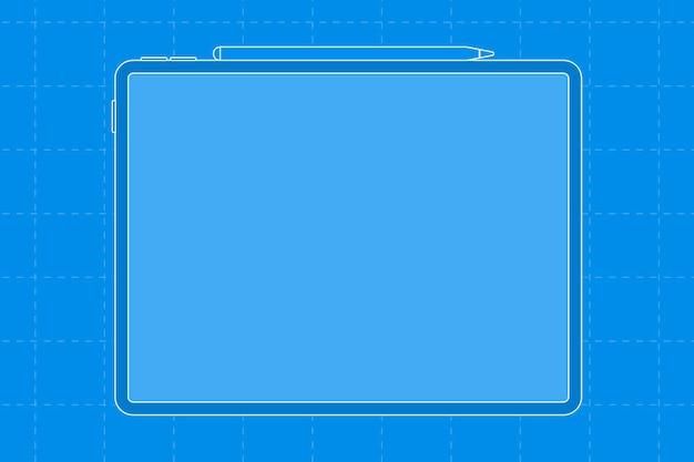 タブレットの空白のブルースクリーン、上部にスタイラス充電、デジタルデバイスのベクトル図