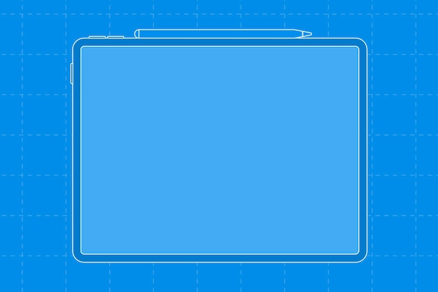 Tablet blank blue screen, stylus charging on top, digital device vector illustration