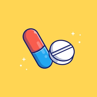 Tablet capsule medicine   icon illustration. healthcare and medical icon concept isolated