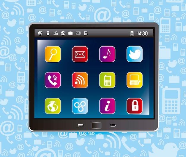 青い背景ベクトルを介してアプリとタブレットコンピュータ