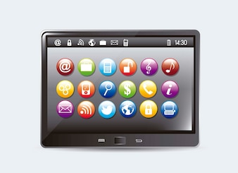 Tablet computer with colorful apps vector illustration