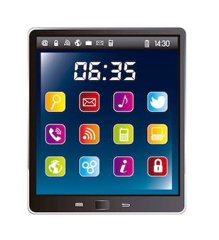 Tablet computer with icons of apps over white background vector