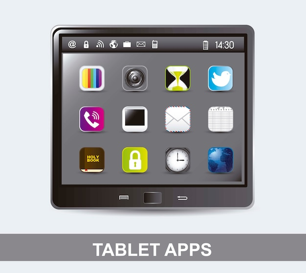 アプリのベクトル図のアイコンを持つタブレットコンピュータ