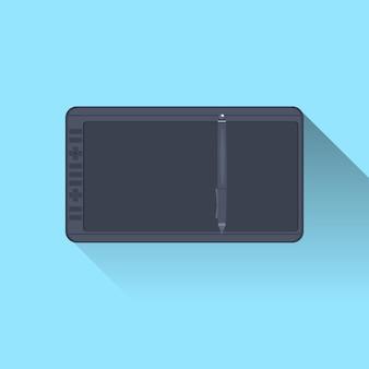 青い背景にスタイラスペンアイコンが付いたタブレットコンピューター