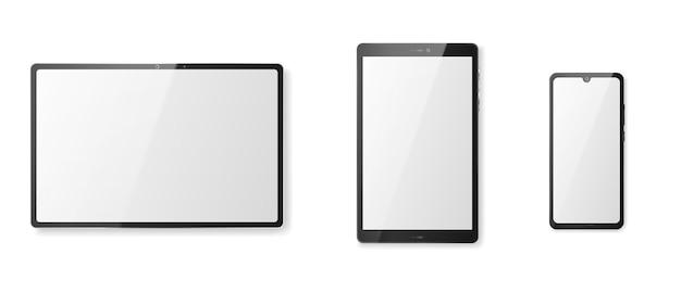 白い画面と黒いフレームのタブレットコンピューター。白い背景で隔離の空白のデジタルディスプレイの正面図とモダンなスマートガジェットのリアルなモックアップ。ベクトルイラスト