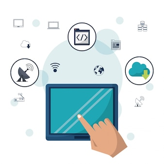 Tablet device and hand in closeup and networking icons