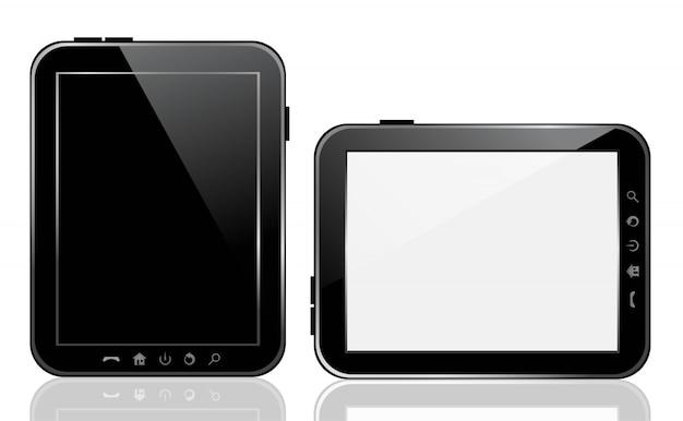 白い背景の上のタブレットデバイス。
