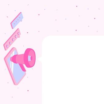 Планшетный рисунок с мегафоном, делая новое объявление в окне чата. рисунок мобильного устройства, включая рупор, издающий гром через сообщение.