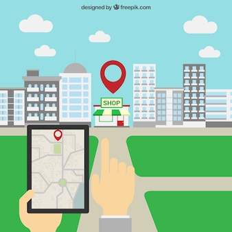 Tablet gps navigation Free Vector