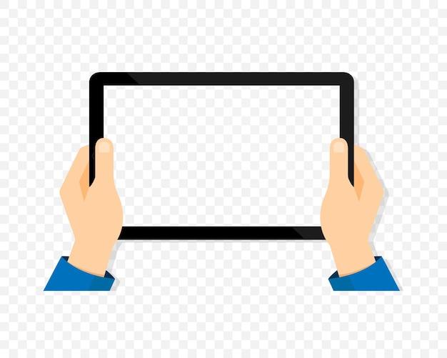 手にタブレット。タブレット画面が空白です。分離されたモバイルデバイスのモックアップ