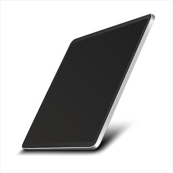 Планшетный компьютер с черным экраном на белом фоне.