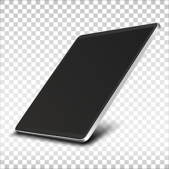 Tablet pc computer with black screen isolated on transparent background.
