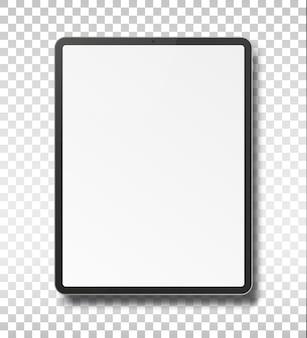 透明な背景に分離された空白の画面を持つタブレットpcコンピューター。