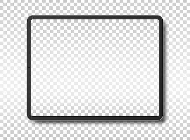 Tablet pc computer with blank screen isolated on transparent background.  illustration.