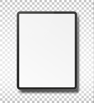 Tablet pc computer with blank screen isolated on transparent background.
