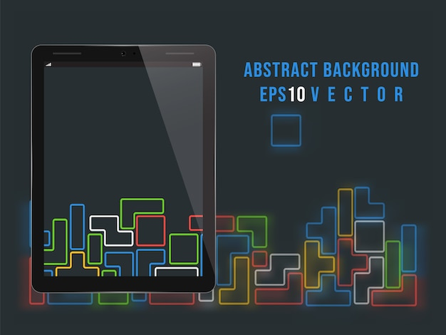 Tablet pc on tetris video game background