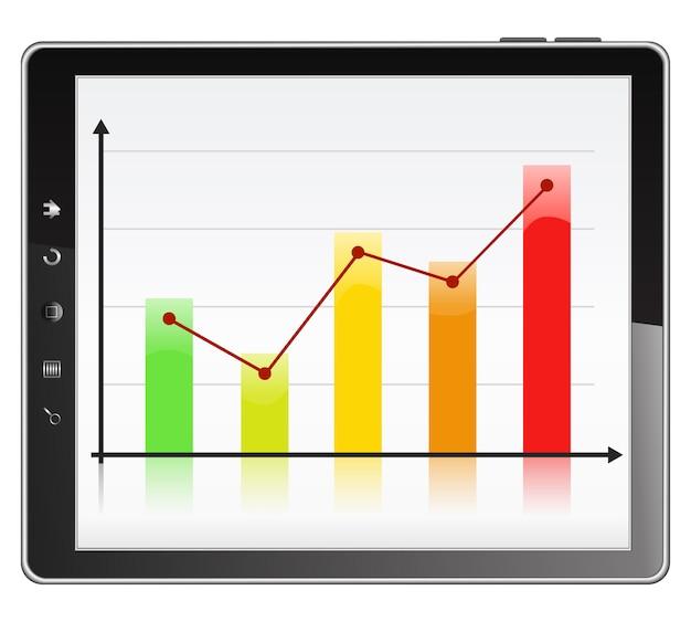 막대 그래프가있는 태블릿 pc