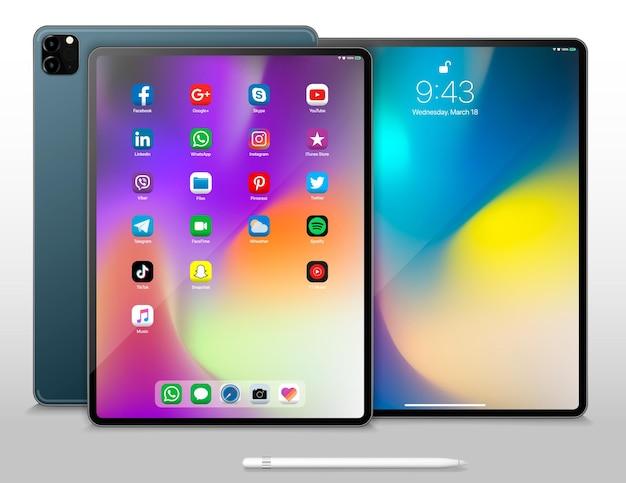 사용자 인터페이스가있는 태블릿 pc