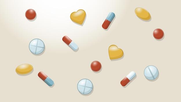 알약 캡슐 어유 의약품과 의료 테마에 태블릿 알약 배경