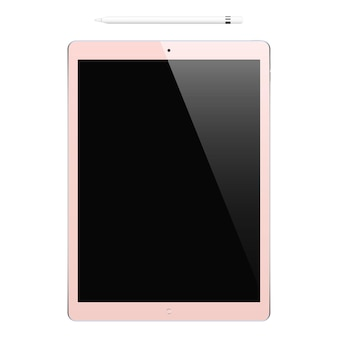 Tablet pink color with black touch screen and pencil isolated on white background. mockup of realistic and detailed device