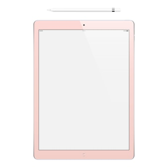 Tablet pink color with blank touch screen and pencil isolated mockup of realistic device