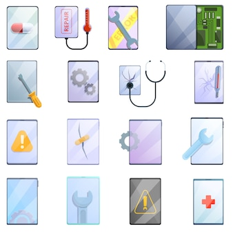 Tablet repair icons set. cartoon set of tablet repair  icons for web
