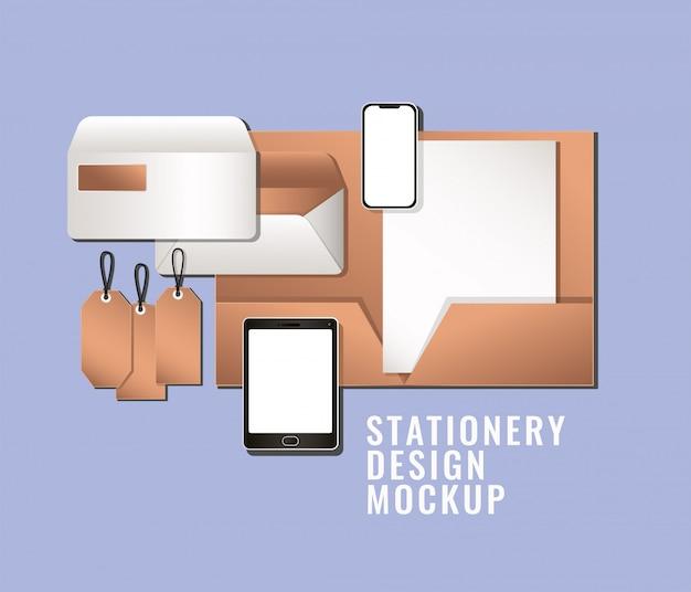タブレットのスマートフォンとモックアップコーポレート・アイデンティティと文房具のデザインテーマベクトルイラストの青色の背景に設定