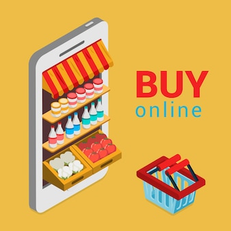Tablet smartphone buy online grocery shopping e-commerce store flat