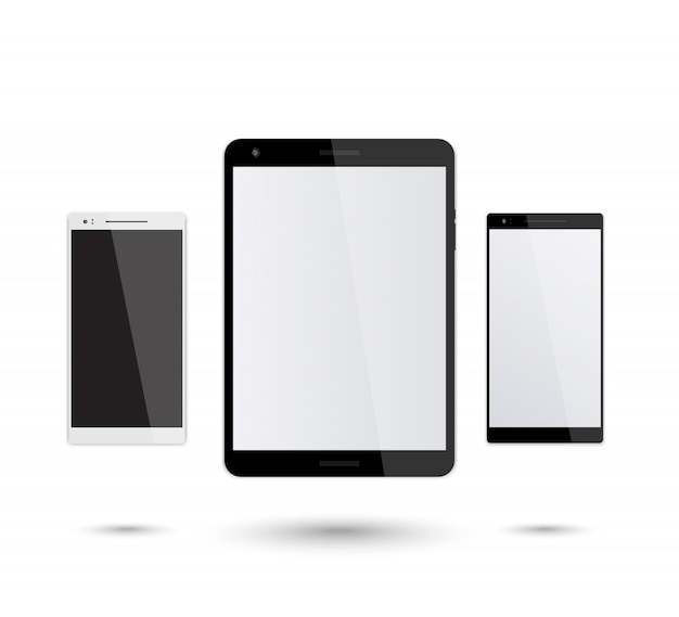 Tablet and smartphones mockup on white, silver and black smartphone, modern black tablet, illustration