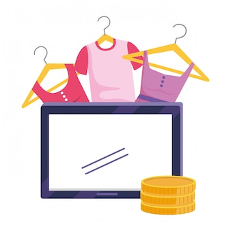 Tablet and store icon illustration