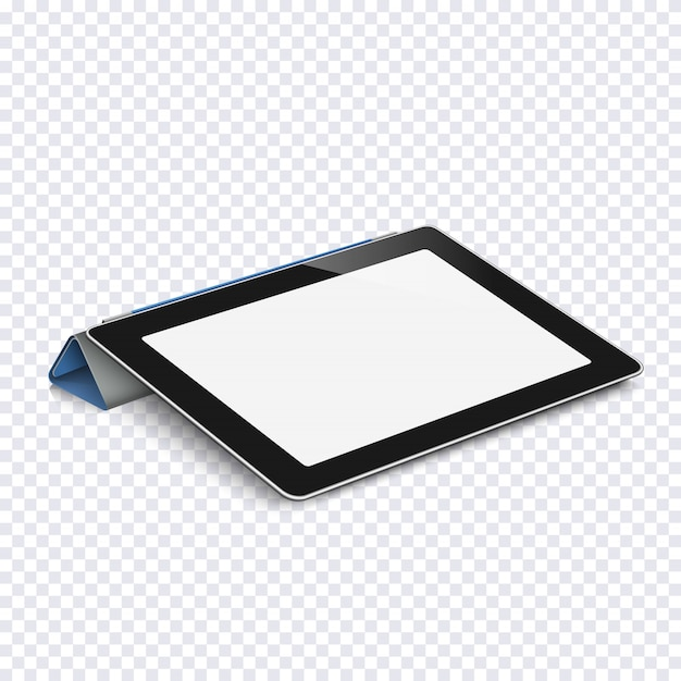 Tablet with blank screen isolated on transparent