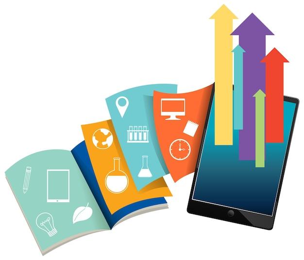 Tablet con libri per l'apprendimento online