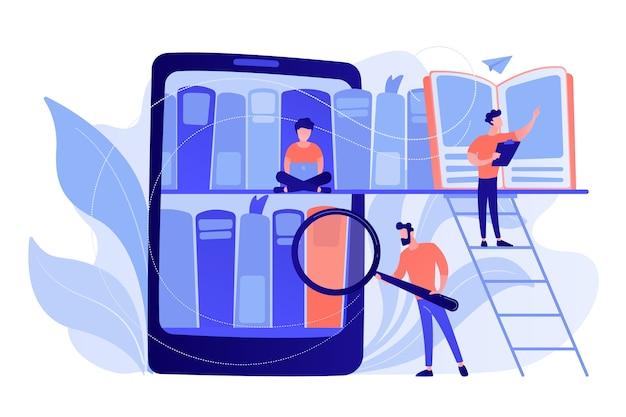 Планшет с книжными полками и студентами, ищущими и читающими информацию. цифровое обучение, онлайн-база данных, хранение и поиск контента, концепция электронных книг. изолированная иллюстрация вектора.